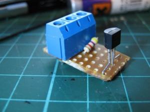 DS18B20 Temperature sensor on assembled board