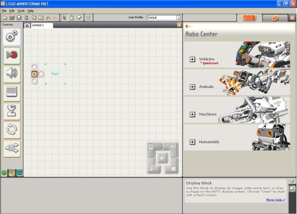 Screenshot of the supplied lego software