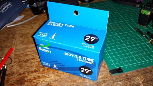 Pushbike inner tubes, like one massive rubber band in a circle!